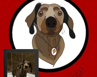 Pet portrait. Dog portrait. Custom dog portrait. Custom dachshund portrait. Personalized portrait. Pet memorial. Pet gift art. Dog loss gift