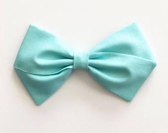 Baby Girl, Toddler, Girls Fabric Bow Headband or Hair Clip - Aqua