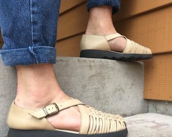 Women's Tan Leather Buckle Shoe