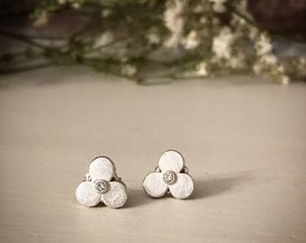 Silver, handmade, flower studs with crystal centers