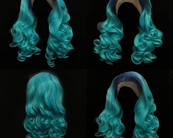 Cool Blue ombré lace front wig