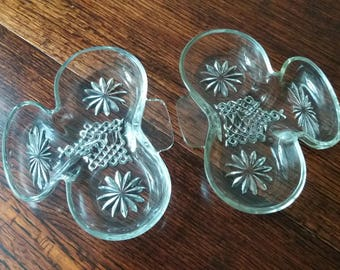 Pair of vintage glass serving, party, sweet dishes, retro