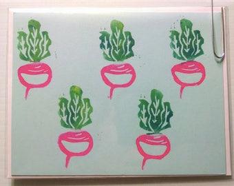 Handmade Linocut Print- Radish Card