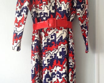 1970s Vintage Mod Maxi Dress with Red Patent Leather Belt
