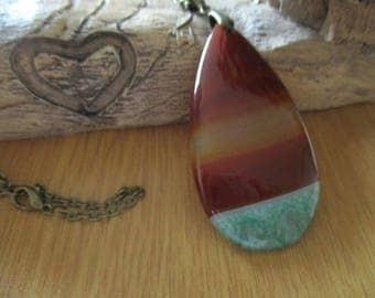 Rainbow Teardrop Druzy Agate Pendant on a Antique Bronze Curb Chain