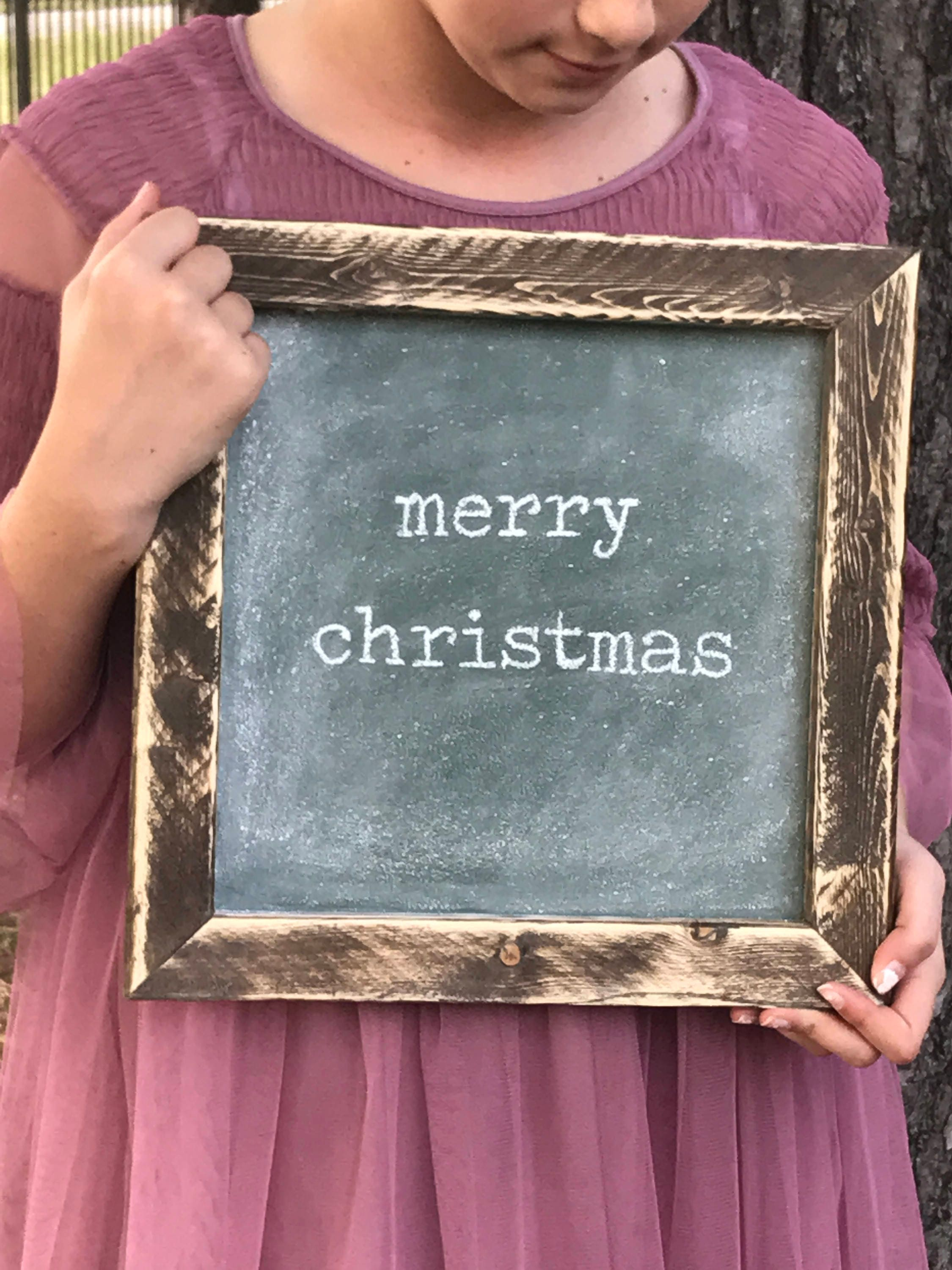 Small Rustic Framed Merry Christmas Chalkboard | Vintage Typewriter ...