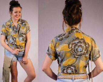 Vintage 1960s Button Down Shirt Vintage Hawaiian Shirt Vintage Floral Shirt Vintage Patterned Shirt Vintage Blouse