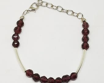 Purple and Silver Sizable Bracelet