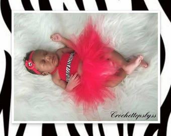 Infant Girls' Crochet Bandeau Top, Headband & Red Tutu (Red/Zebra Print)