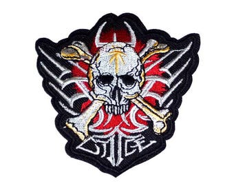 Silver Skull and Crossbones on Red Iron on Patch - H518