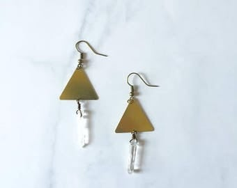 Triangle and Quartz dangle earrings, Quartz earrings, Triangle earrings, Drop earrings, Geometric earrings