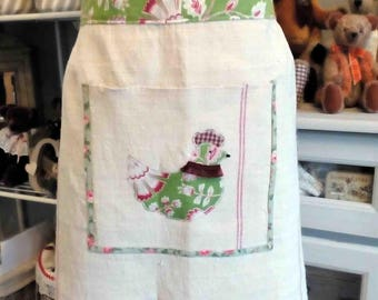 Easter apron linen and vintage fabric