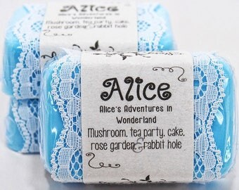 Alice Glycerin Soap Bar - Alice's Adventures in Wonderland by Lewis Carroll Handmade Custom Book Character Scent - Fragrance, Literature