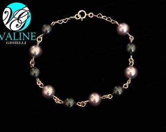 Silver 925 pearls bracelet green/grey