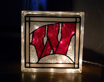 University of Wisconsin-Madison UW Badgers Leaded Stained Glass Light Glass Block Light/Nightlight
