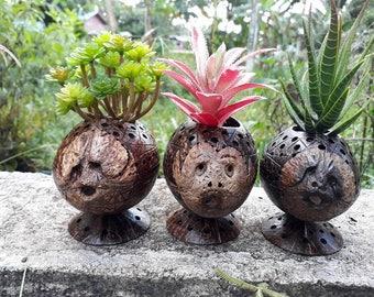 3 Pcs Thai handicraft Coconut Shell Pot Planter Candle Holder Decorative Garden