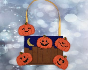 Five little pumpkin finger puppets Set, interactive play, inspired play, Party Favor - Ready to Ship