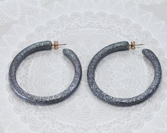Silver Hoops with Glitter, Large Hoops