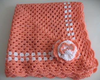 Pink Orange baby blanket