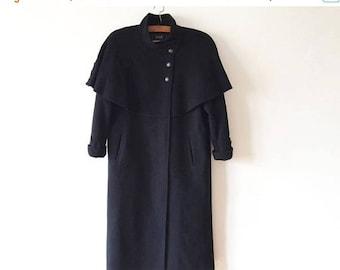 ON SALE Vintage Black Wool Coat Womens Winter Coat Warm Wool Coat Black Women's Winter Cape Coat Wool Coat Made in Finland Size Medium Wool