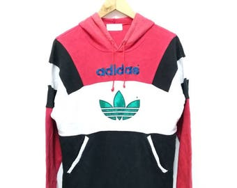 Hot Sale!!! Rare Vintage 90s ADIDAS Embroidery Big Logo Multicolour Pullover Hoodie Sweatshirt Hip Hop Small (160) Size