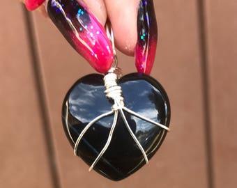 Silver Labrodite Heart