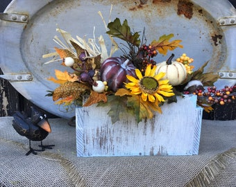 An Old Vintage Wood Box With Fall Arrangement, Primitive Fall Centerpiece, Thanksgiving Table Decor, FAAP, Harvest Centerpiece, Pumpkins