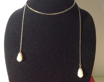 Lariat Necklace with Faux Pearls