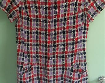 60s vintage blue, pink, purple and cream checkered dress
