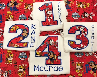 Paw patrol birthday shirt any age Chase, Rubble, marshall embroidered