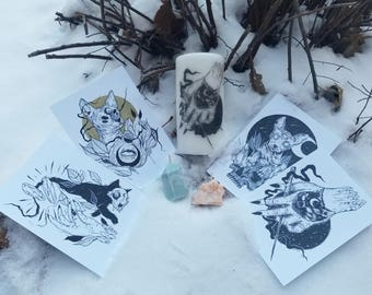 Kitty Candle and Print Bundle