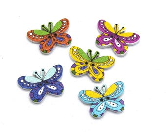 5 multicolor Butterfly 2 hole Scrapbooking DIY Creation 2.5x1.6cm wooden buttons - 87
