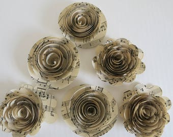 6 roses and ranunculus sheet music paper flowers 3 loose artificial floral decor