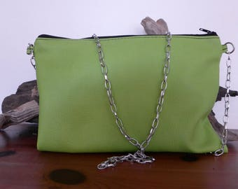 Green leatherette pouch