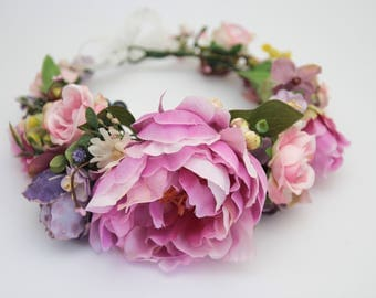READY Pink Purple Wedding Flower Crown \ Maternity Photo Prop Fall Flower Crown Flower Halo Liliac Floral Crown Flower Hair Wreath