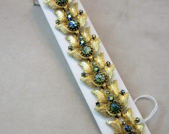 Vintage Link Style Art Glass and Rhinestone Bracelet - Judy Lee