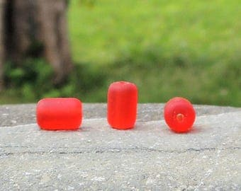 Cultured sea glass barrel nugget beads cherry red, 10x6 mm, 22 pcs
