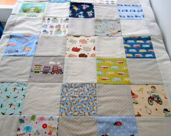 soft baby blanket for spring, patchwork, to order only