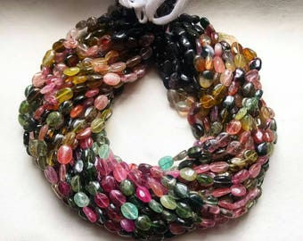 30% OFF Natural Tourmaline , oval shape , multi colour , 6 mm Beads - 14 inches string