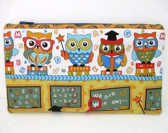 Pencil Pouch, Teacher Gift, Owl Fabric, Zipper Pouch, Organization, School Case, Gift for Kids, Toddlers, Crayon Holder, Teacher Bag, 9x5