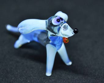 Glass badger dog figurine animals glass dog miniature art glass dogs toy murano animals tiny small figure glass black dog sculpture