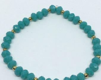 Turquoise and gold stretch bracelet