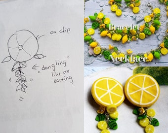 Lemon set,lemon earring, lemon necklace, lemon bracelet, cold porcelain,yellow jewerly set