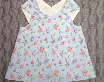 Handmade Little Girls Dress/Top Pinafore Style, Wrap Around Tunic