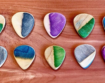 Handmade Guitar Picks Crafted From Recycled Skateboards / Music / Accessories / Personalized Gifts / Handcrafted