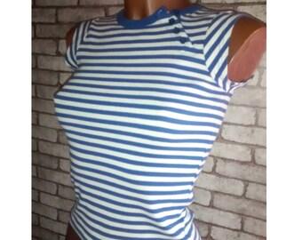 Pop Top sixtie t-shirt grunge emo stripes riot grrrl