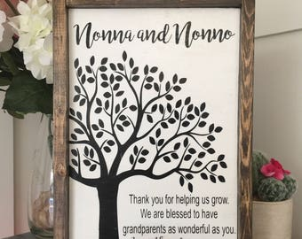 Personalized Gift for Grandparent Wood Sign - BBJ17 -Nonna and Nonno, Abula y Abuelo, blessed wood sign, gift for grandparents, grandmom/dad