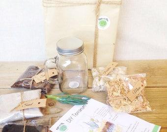 DIY Terrarium Kit, Mason Jar Succulent Terrarium Kit, Miniature Garden, Glass Mason Jar, Green Gift, Indoor garden, Green Thumb Gift