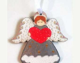 ON SALE Guardian angel Wooden Love angel Heart silver angel Hand painted angel Wood toy Baby room Valentines gift  gifts for children