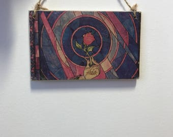 Disney Beauty and the beast Enchanted Rose Handmade Plaque, Home Decor, Wall Art, Keepsake, Sign